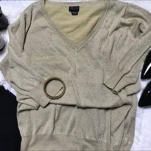 Gold V Neck Sweater